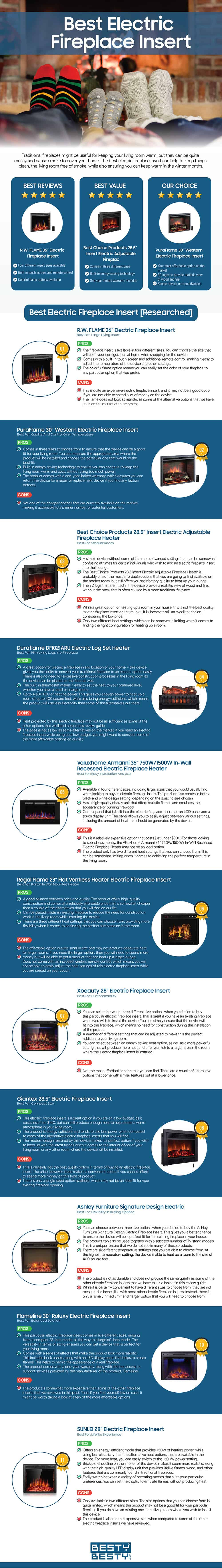 Best Electric Fireplace Insert infographic by bestybesty.com
