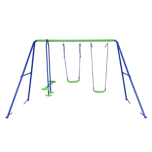 BestValue Go metal A-Frame Seat Swing Set with One Seesaw