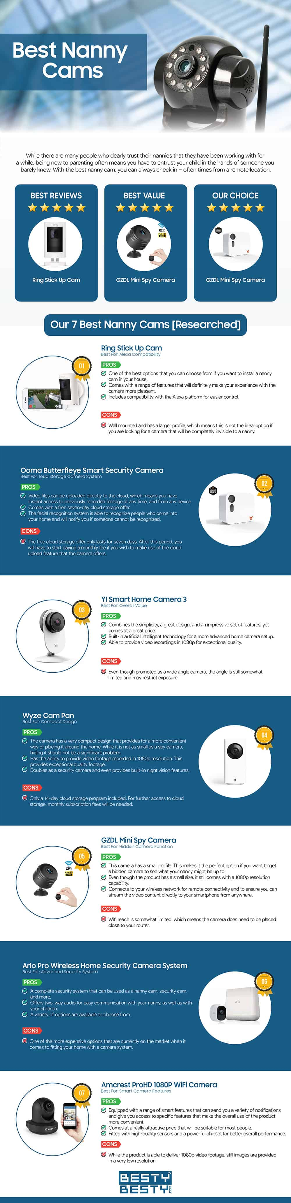 Top Nanny Cams infographic by bestybesty.com